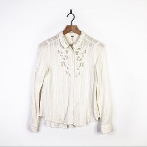 Free People Carter Dobby Embroidered Ivory Shirt